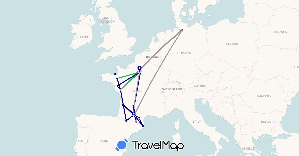 TravelMap itinerary: driving, bus, plane, train, hiking in Germany, Spain, France (Europe)